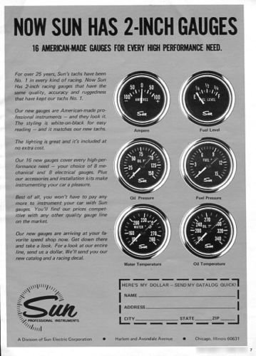 "Vintage SUN PROFESSIONAL INSTRUMENTS 2"" Gauges 1973 Advertisement +FREE Ad!"