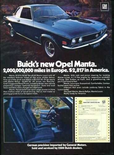 Vintage GM BUICK's 1973 73 OPEL MANTA, 1973 Advertisement +FREE Ad!