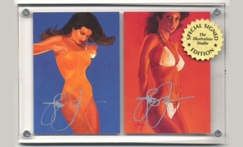 Autographed Steve Woron 2 Swimsuits Cards Signed in Screwdown Holder