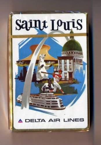 Vintage 1960s Delta Air Lines Playing Cards Pack ST. LOUIS *sealed*