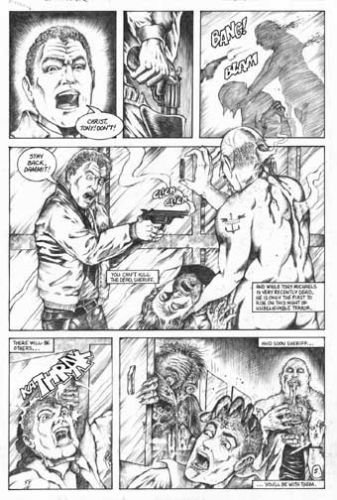 Don Paresi's Zombie Horror comic SEPULCHER #3 Walking Dead ORIGINAL ART Pg. 5~!