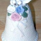 Ceramic WEDDING BELL w/Doves and Flowers MINT