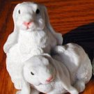 Cold Cast Porcelin 2 BUNNIES Figurines-Clean Cute-Detailed