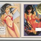SIGNED Steve Woron Different NUDE VAMPIRELLA 2 cards in screwdown with Gold Seal