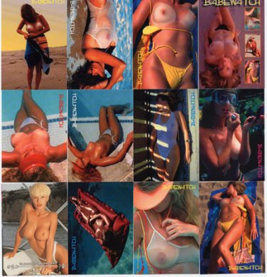 BABEWATCH Trading Card Set-Great Busty Amateur Swimwear Set + 4 Promos-Very Rare