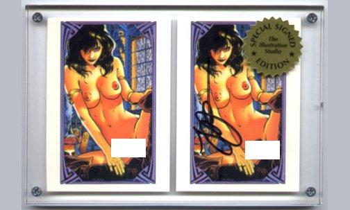 SIGNED Steve Woron NUDE VAMPIRELLA 2 Cards in Screwdown Holder Gold Seal