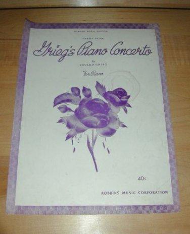 Grieg's Piano Concerto-Piano solo sheet music; A minor 1942