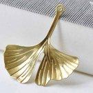 10 pcs Raw Brass Gingko Gingkgo Leaf Pendants Embellishments A9039
