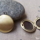 2 pcs Antique Bronze Blank Round Photo Lockets 20mm A3557