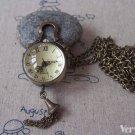 Orb Pocket Watch Antique Bronze Glass Bubble Pendant A4616