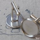 10 pcs Silver Gray Cuff Links Cufflinks With 16mm Bezel A5825
