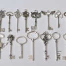 Antique Silver Skeleton Key Charms Pendants Assorted Set of 19 A8787