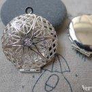 5 pcs Silver Photo Locket Filigree Round Pendants A7147