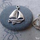 20 pcs Antique Silver Catamaran Sailing Boat Charms 17x24mm A7729