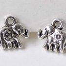 10 pcs Antique Silver Small 3D Flower Elephant Charm Pendants A8530