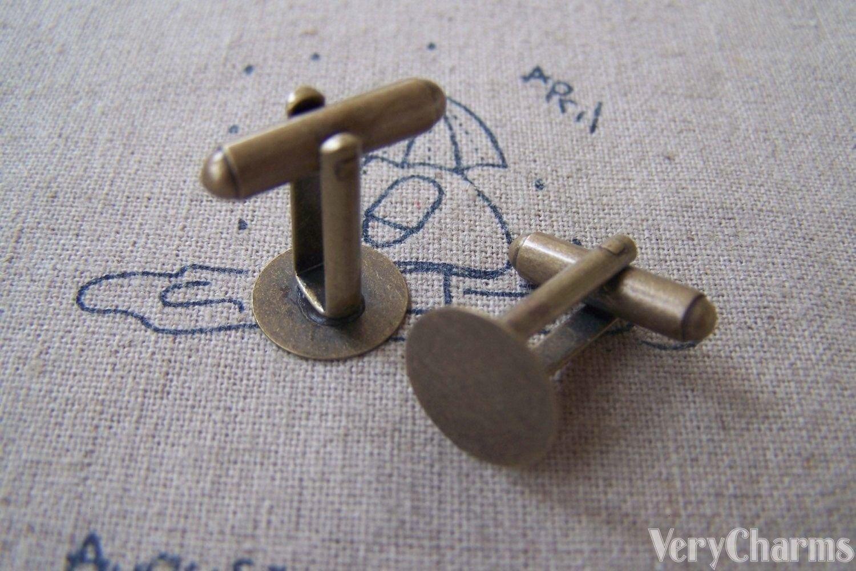 10 pcs Antique Bronze Cuff Links Cufflinks With 12mm Pad A2608