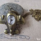 1 PC Antique Bronze Airplane Pocket Watch Necklace A4612