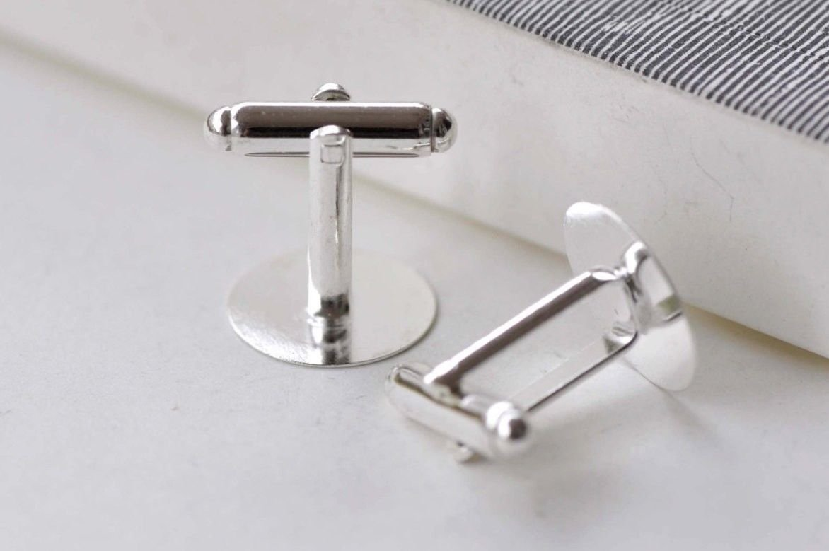 Silver Cuff Link Cufflink Blanks 15mm Pad Set of 10  (5 Pairs)  A7938