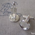 10 pcs Silver Cuff Links Cufflinks With 10mm Bezel Cup A7812