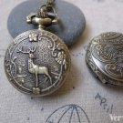 1 PC Antique Bronze Deer Flower Pocket Watch A7198