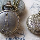 Antique Bronze Eiffel Tower Pocket Watch A5732