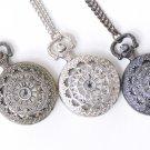 1 PC Antique Bronze/Platinum/Black Spider Cobweb Pocket Watch Necklace Gunmetal Black / Large 47mm