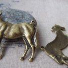 6 pcs of Antique Bronze Standing Horse Pendant  43x43mm A6923