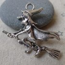 10 pcs Antique Silver Wicked Witch Broom Charms 35x38mm  A7317