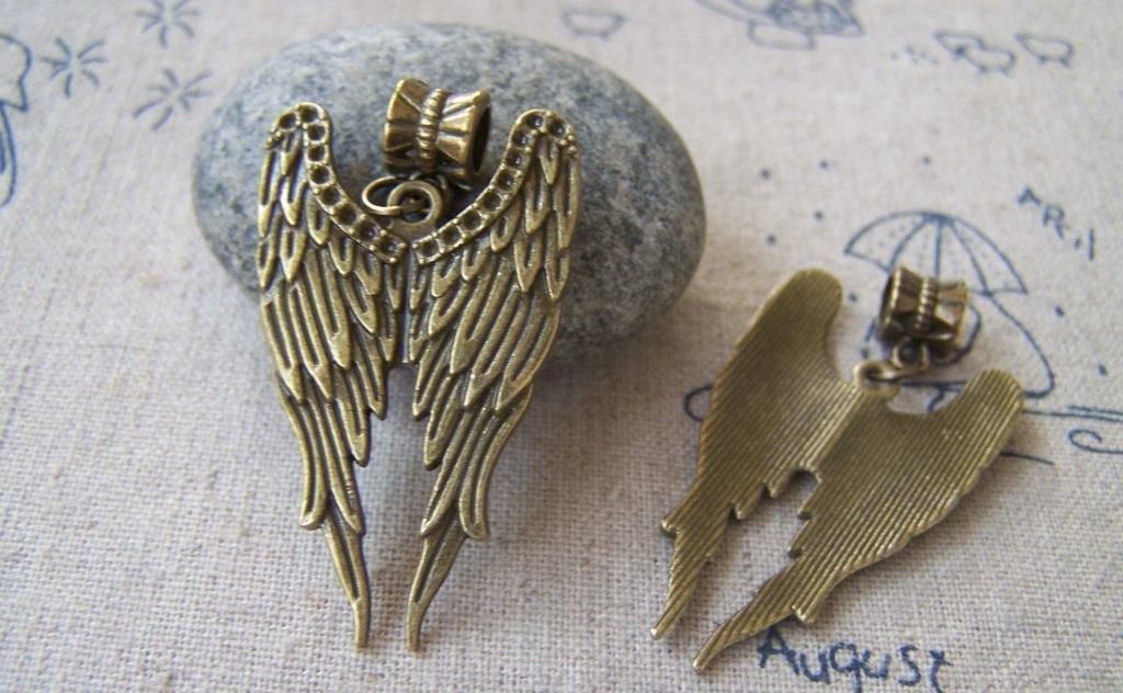 10 pcs of Antique Bronze Angel Wings Charms Pendants 39mm A2358