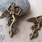 10 pcs of Antique Bronze Lilith Snake Angel Charms 25x38mm A681