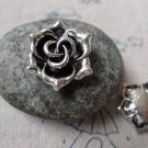 10 pcs Antique Silver Flower Back Loop Charms  17mm A6817