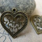 10 pcs Antique Bronze Swirly Flower Heart Charm Pendants A6257