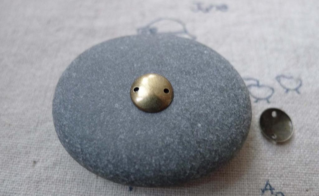 100 pcs Antique Bronze Brass Curved Disc Connectors 8mm A7698
