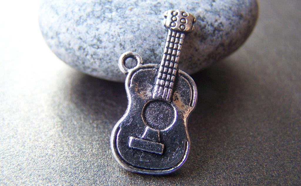 Antique Silver Guitar Music Instrument Charms Set of 10  A1663