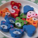 20 pcs Assorted Color Wooden Bear Cub Head  Beads 14x20mm A3739