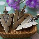 10 pcs Antique Bronze Triangle Arrow Symbol Charms 16x31mm A1436