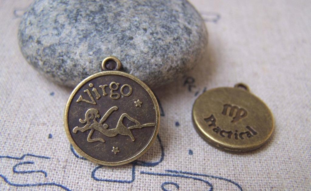 10 pcs Antique Bronze Virgo Virgin Constellation Round Charms A1933