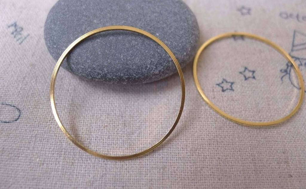 20 pcs of Gold Tone Brass Seamless Rings 30mm 20gauge A7375
