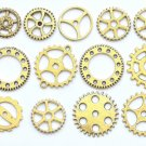 Bulk Gear Charms Collection Antique Gold Wheel Parts Pendants Mixed Style Set of 100 A1027
