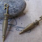 10 pcs of Antique Bronze Lovely Folded Umbrella Charms 6x35mm A3438