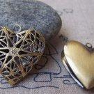 6 pcs Antique Bronze Brass Filigree Heart Photo Locket 25mm A3549