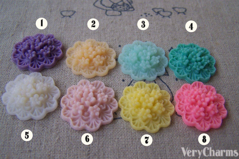Resin Round Flower Bundle Cameo Cabochon 20mm Flat Back 10 pcs No.3 A4105