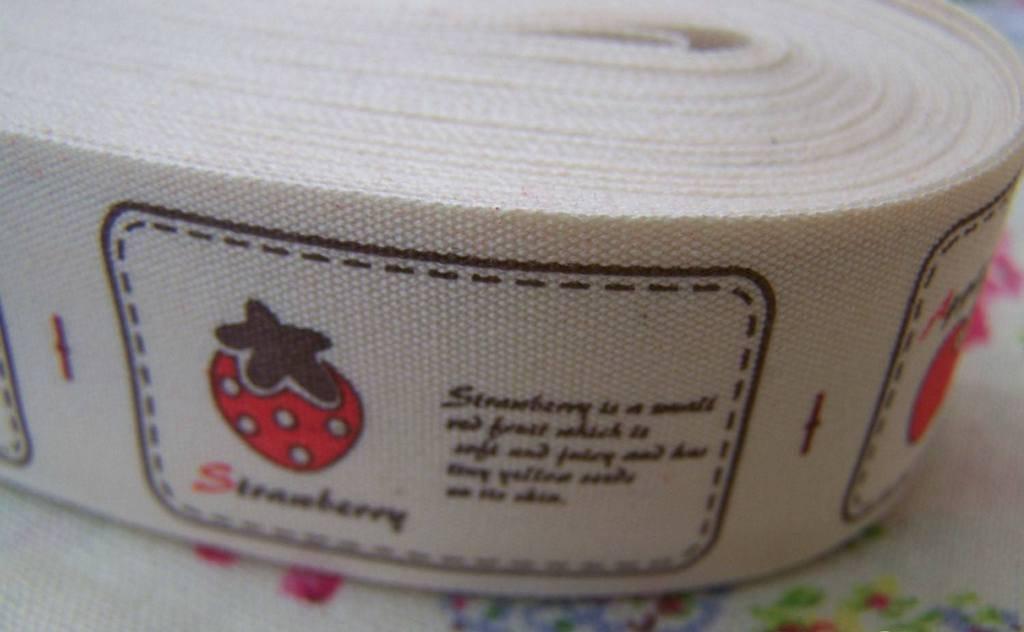 5.46 Yards Cotton Ribbon Apple Watermelon Cherry Strawberry A2564