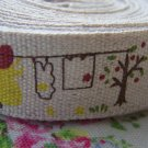 5.46 Yards Girl Dog Ducks Print Linen Ribbon Label String A2652