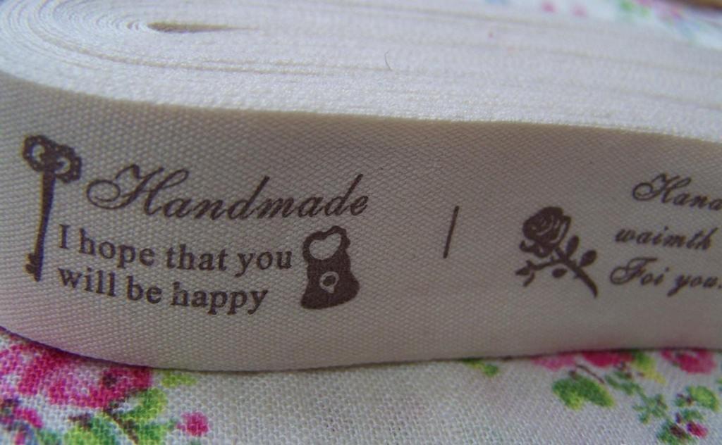 Flower And Key Handmade Print Cotton Ribbon Label String A2533