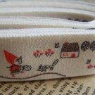 Little Red Cap Girl Print Cotton Ribbon Label String A2633