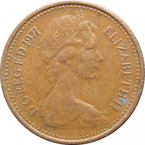 1971 Great Britain New Half Penny