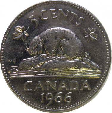 1966 Canadian 5 Cent