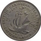 1955 East Caribbean State 25 Cent