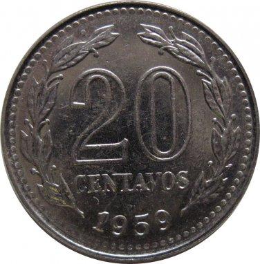 1959 Argentina 20 Centavo